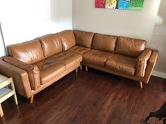 Grand canapé d'angle marron